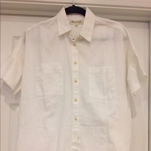 White Madewelll short sleeve button down blouse